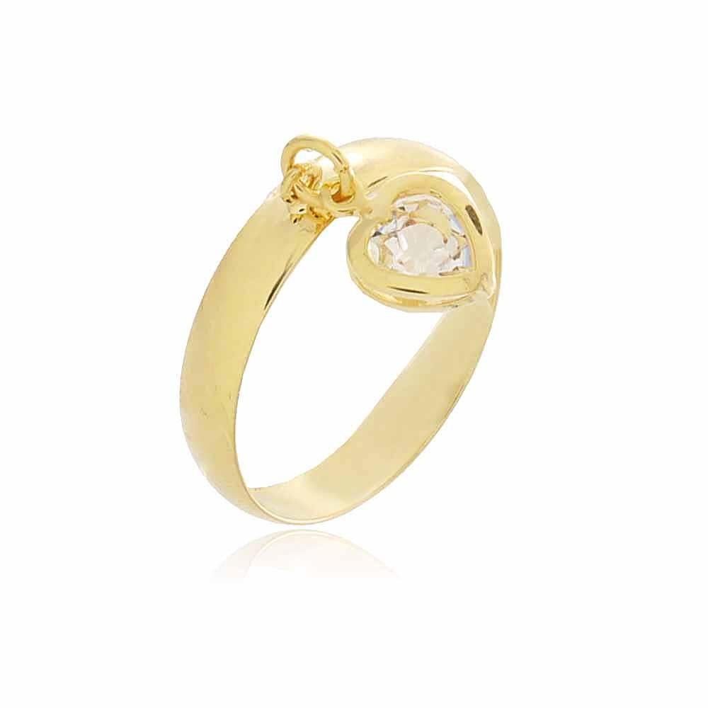 Anel Pingente Coração Alton - banho de ouro amarelo - zircônia branca