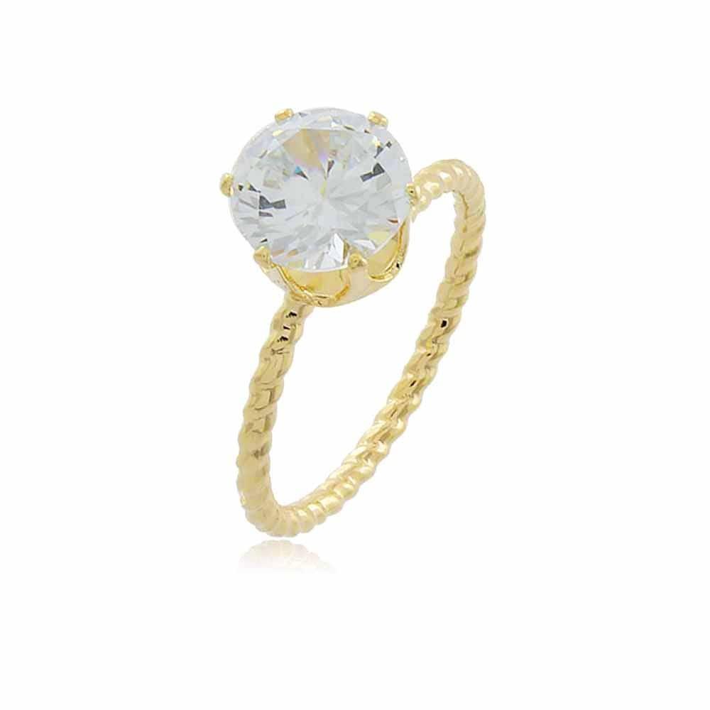 Anel Pari - banho de ouro amarelo - zircônia branca