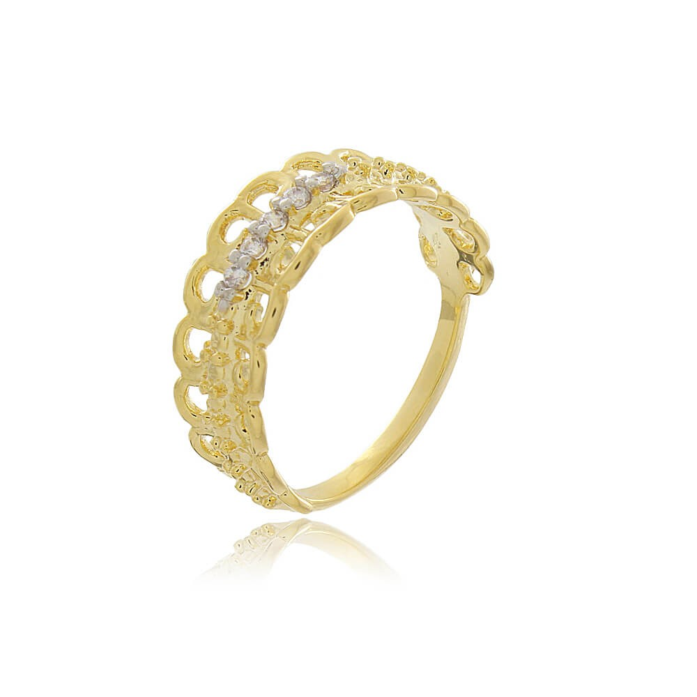 Anel Roma - banho de ouro amarelo - zircônia branca