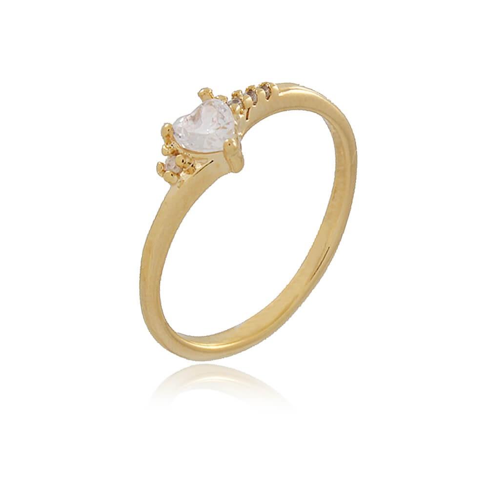 Anel Bagre - banho de ouro amarelo - zircônia branca