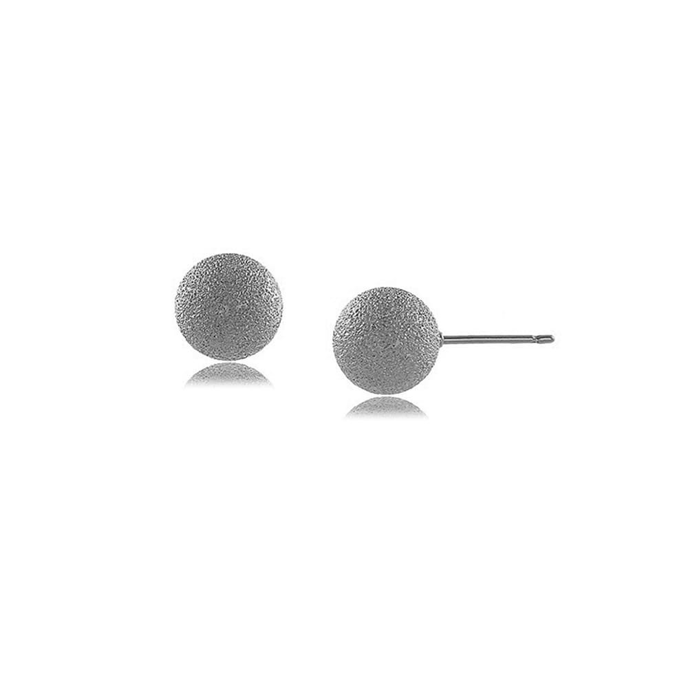 Brinco Bola Fosca 8MM - banho de ouro branco