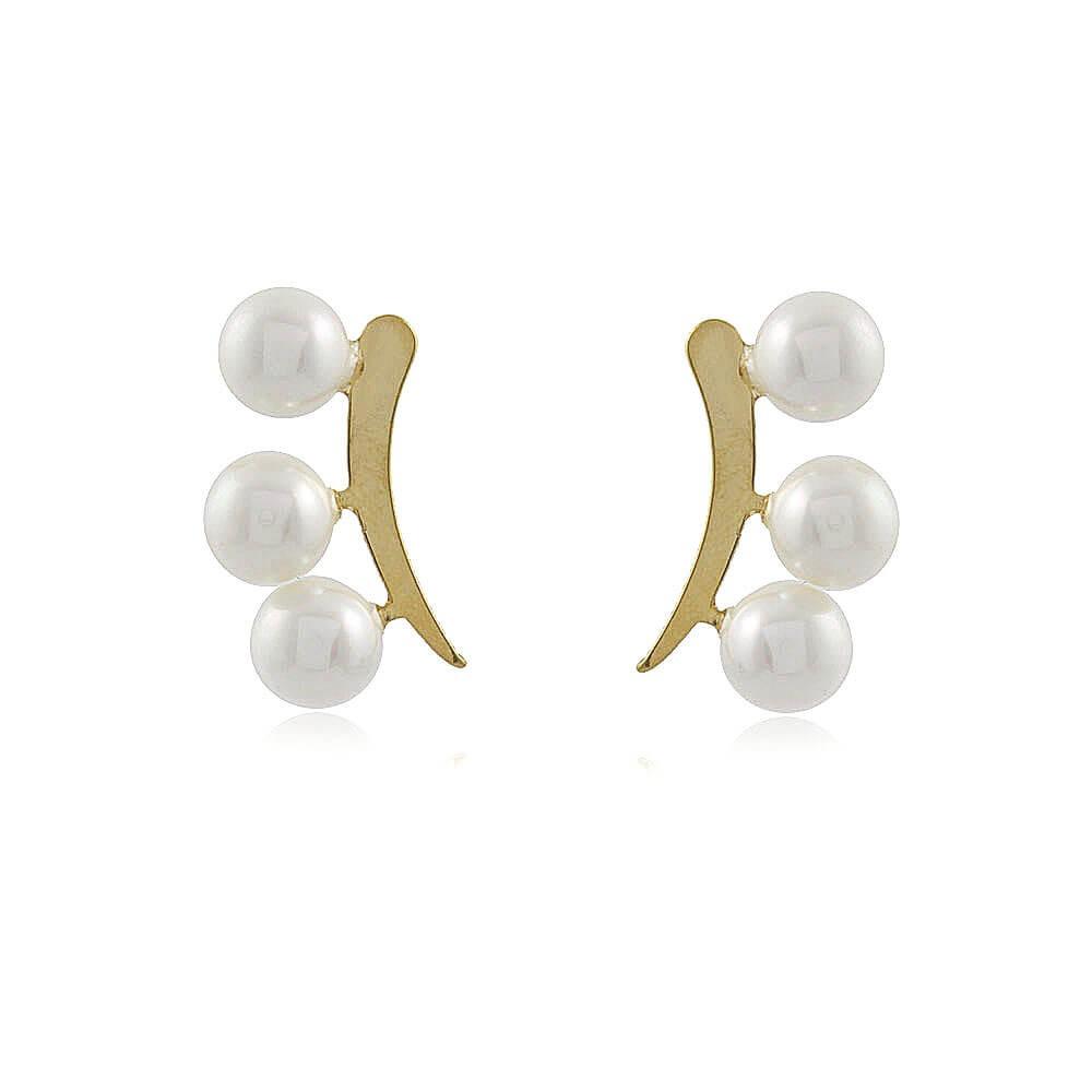 Brinco Ear Cuff Harmônica - banho de ouro amarelo - pérolas