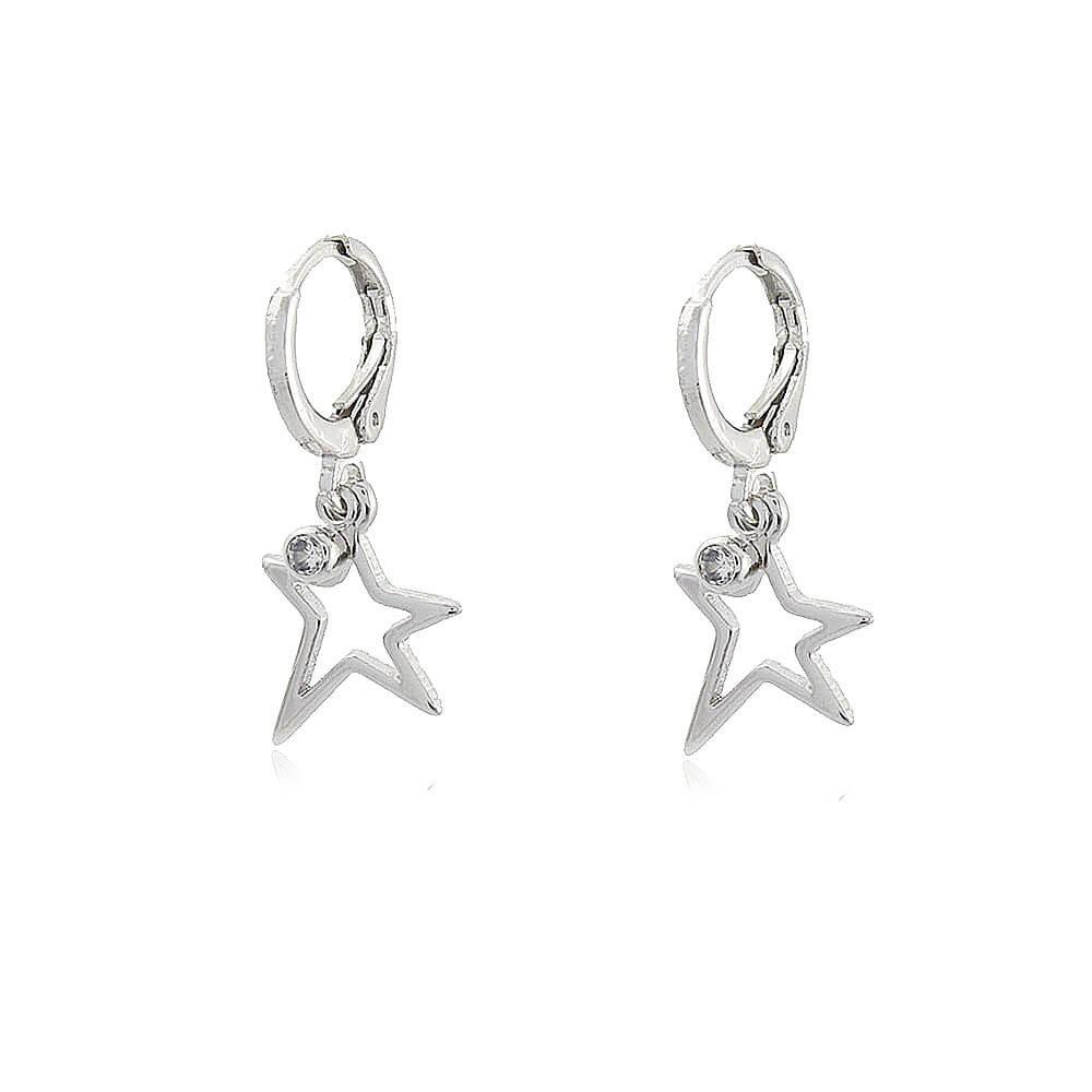 Argola Estrela Cauda - banho de ouro branco - zircônia branca