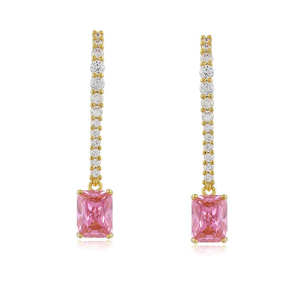 Brinco Zinia - banho de ouro amarelo - cristal rosa e zircônia branca