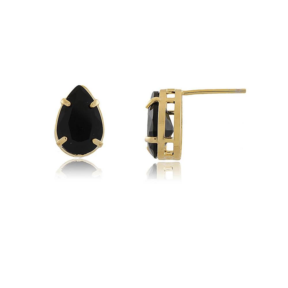 Brinco Gota Alian - banho de ouro amarelo - cristal preto