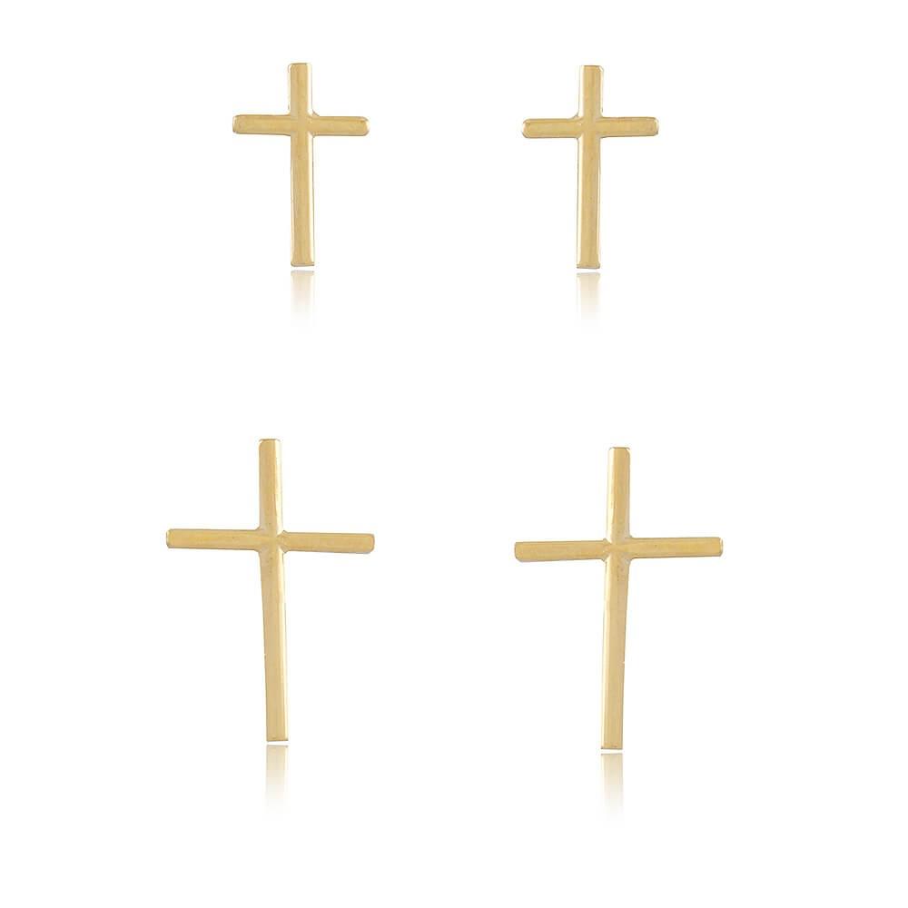 Dupla de Brincos Crucifixos - banho de ouro amarelo
