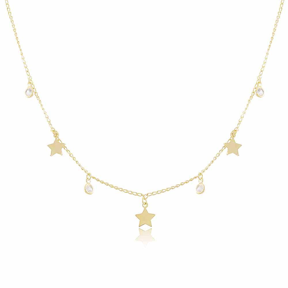 Colar Estrelas Hay - banho de ouro amarelo - zircônia branca