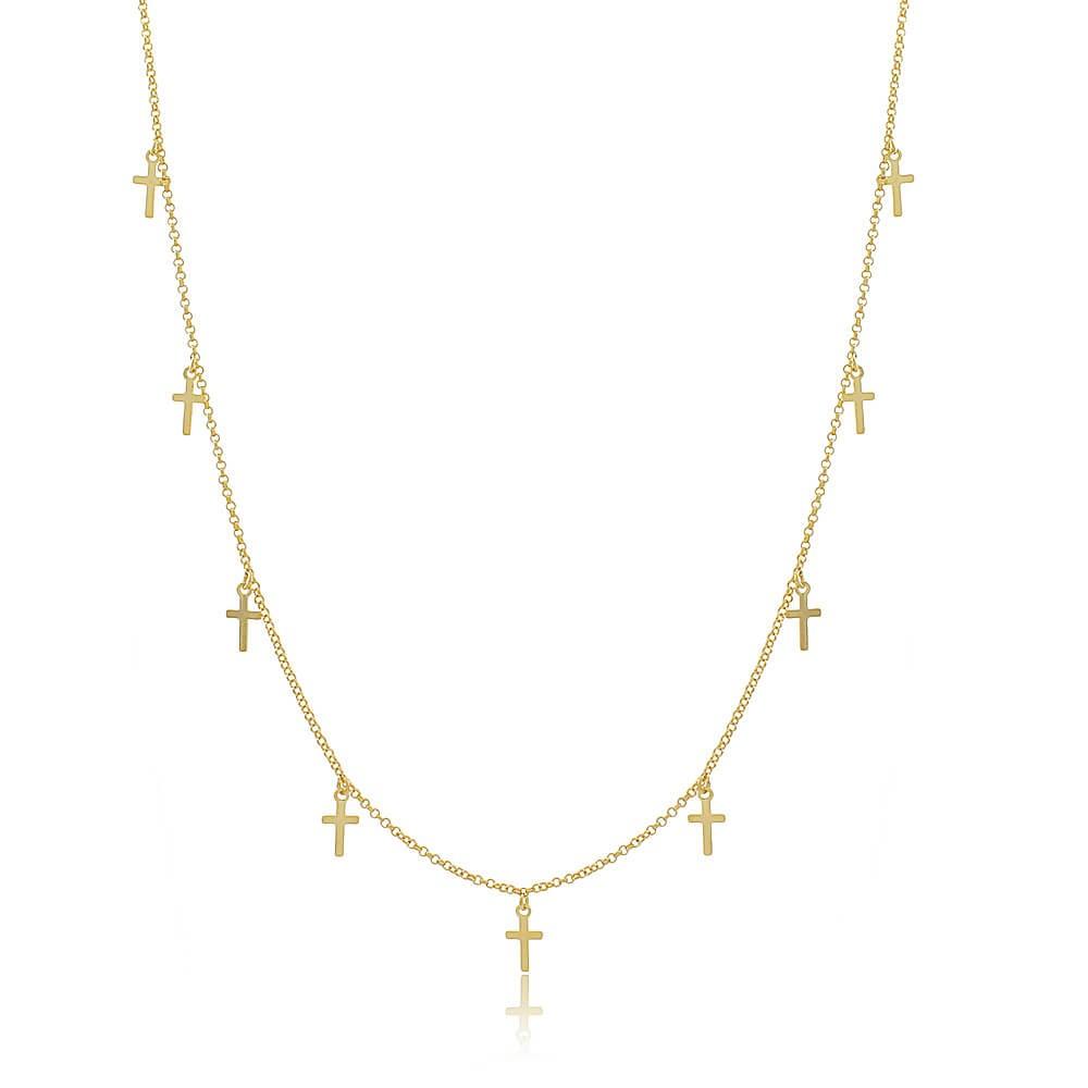 Colar Longo Crucifixo Piacenza - banho de ouro amarelo