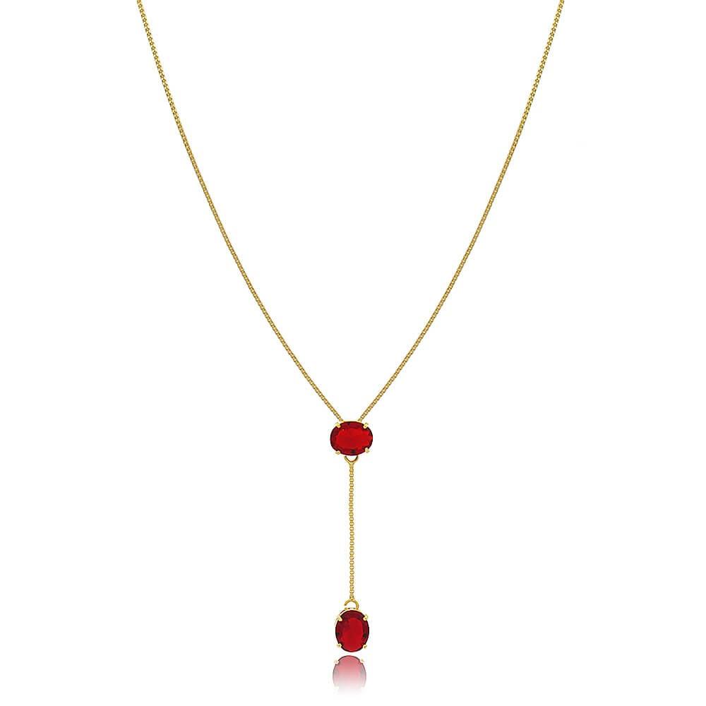 Colar Forli - banho de ouro amarelo - cristal vermelho