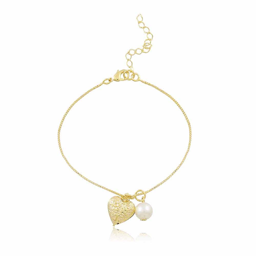 Pulseira Coração Air - banho de ouro amarelo - pérola