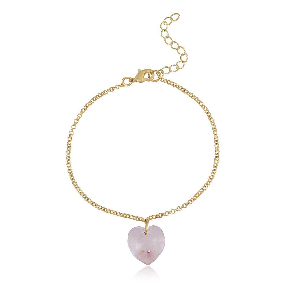 Pulseira Coração Mandril - banho de ouro amarelo - cristal rosa
