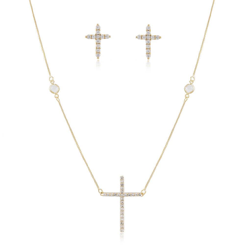 Conjunto Crucifixo Degu - banho de ouro amarelo - zircônia branca