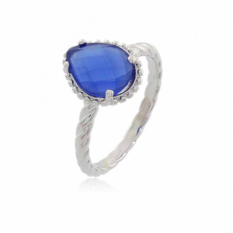 Anel Gota Itajaí - banho de ouro branco - cristal azul