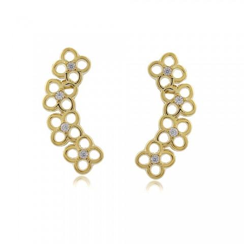 Brinco Ear Cuff Flores - banho de ouro amarelo - zircônia branca
