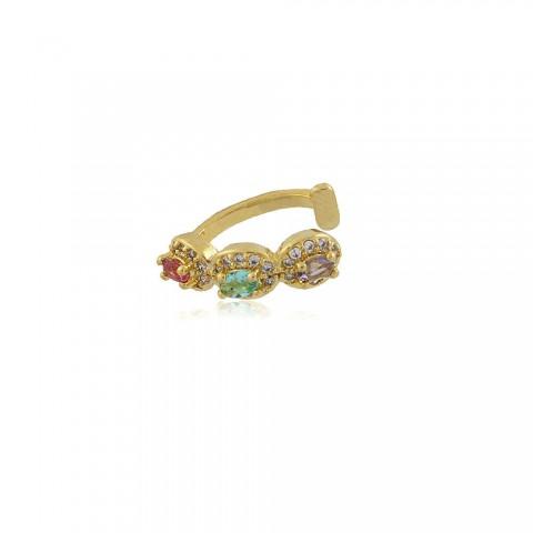 Brinco Piercing Fake Girassol - banho de ouro amarelo - cristal colorido