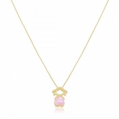 Colar Menina Rosa -banho de ouro amarelo - cristal rosa