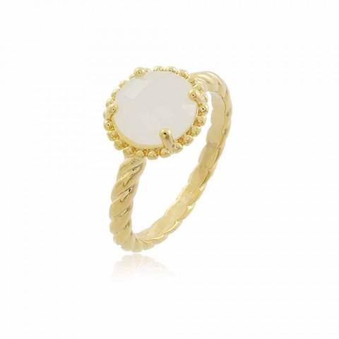 Anel Helena - banho de ouro amarelo - cristal branco