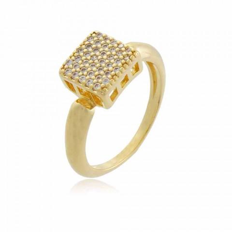 Anel Chuveirinho Quadrado - banho de ouro amarelo - zircônia branca