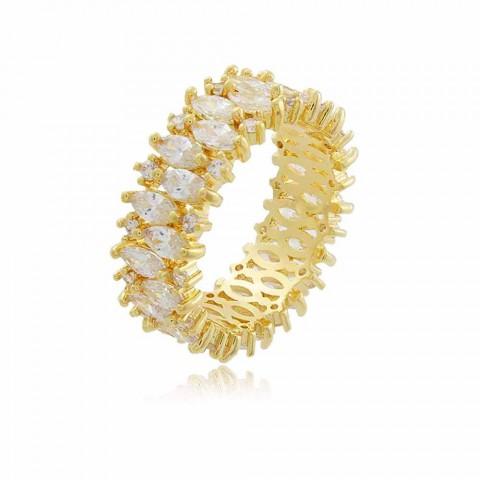 Anel Noivinha - banho de ouro amarelo - zircônia branca