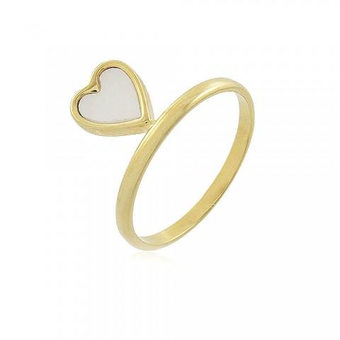 Anel Coração Arrabil - banho de ouro amarelo - resina branca