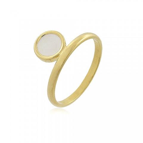 Anel Atabaque - banho de ouro amarelo - resina branca