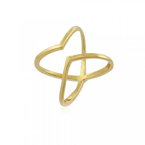 Anel Hibisco - banho de ouro amarelo