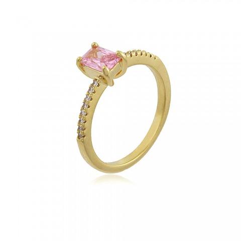 Anel Frésia - banho de ouro amarelo - cristal rosa e zircônia branca
