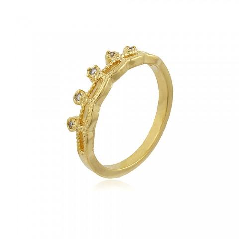 Anel Lisianto - banho de ouro amarelo - zircônia branca