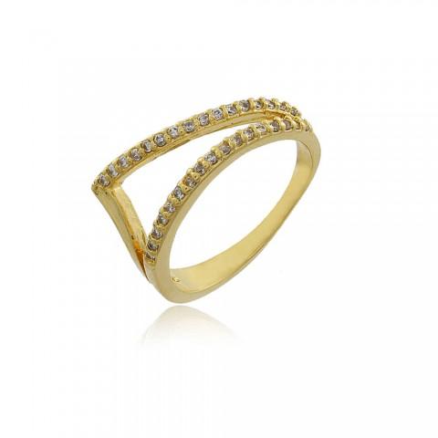 Anel Alfazema - banho de ouro amarelo - zircônia branca