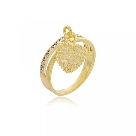Anel Coração Milano - banho de ouro amarelo - zircônia branca