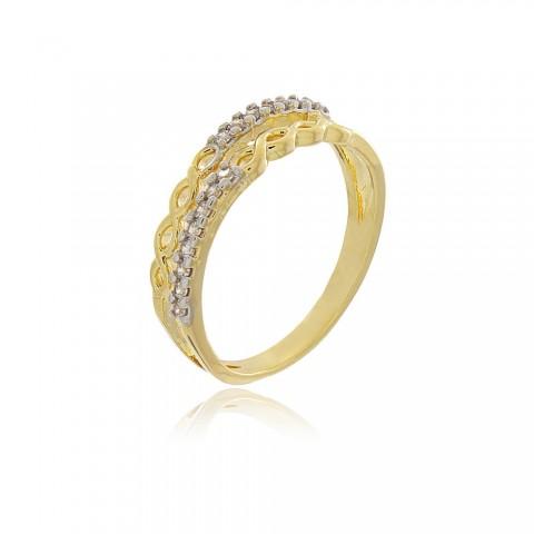 Anel Infinito Duplo - banho de ouro amarelo - zircônia branca
