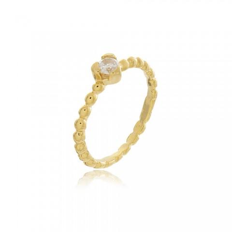 Anel Coração Napoli - banho de ouro amarelo - zircônia branca