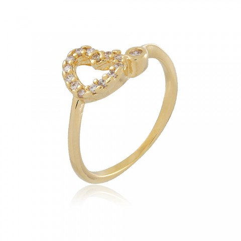 Anel Coração Boto - banho de ouro amarelo - zircônia branca