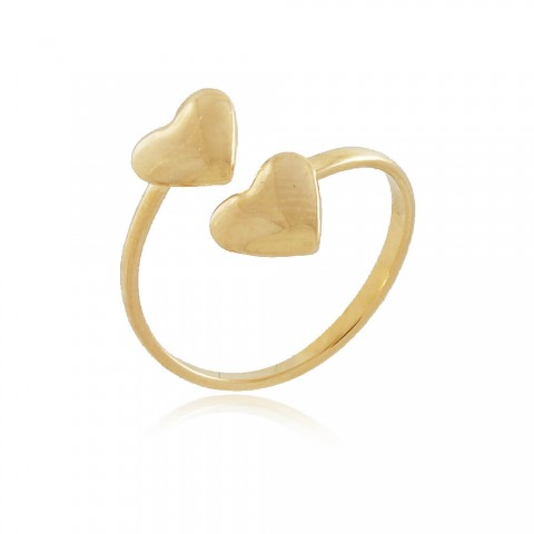 Anel Coração Cato - banho de ouro amarelo