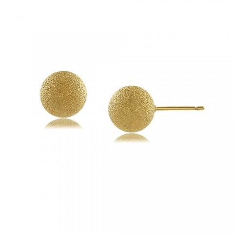 Brinco bola fosca 10 MM - banho de ouro amarelo