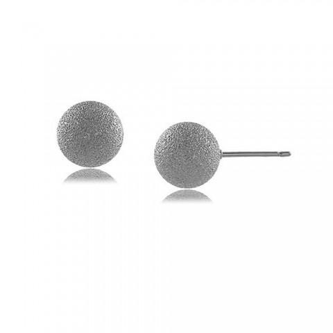 Brinco bola fosca 10 MM - banho de ouro branco