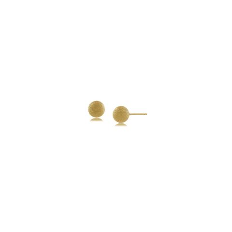 Brinco bola fosca 6MM - banho de ouro amarelo