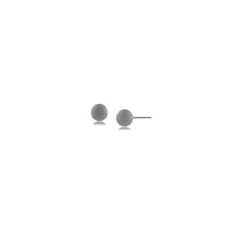 Brinco bola fosca 6MM - banho de ouro branco