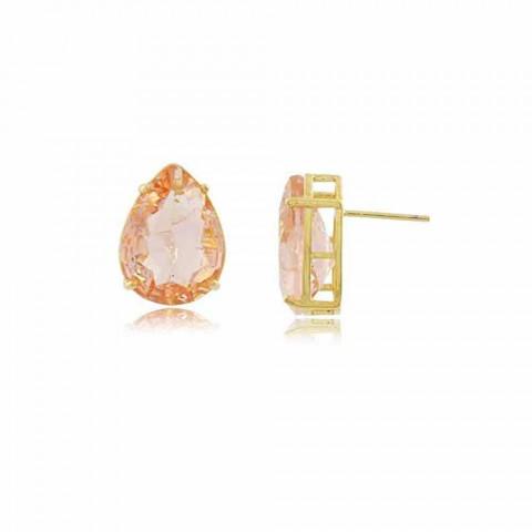 Brinco Gota Fusion C - banho de ouro amarelo - cristal fusion rosa