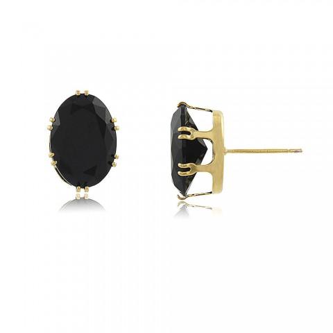 Brinco Cacaueiro - banho de ouro amarelo - cristal preto