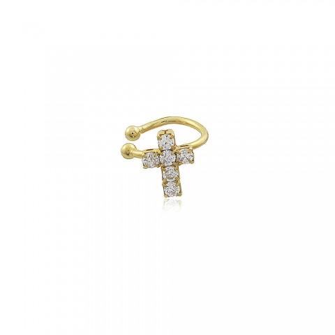 Brinco Piercing Fake crucifixo - banho de ouro amarelo - strass branco
