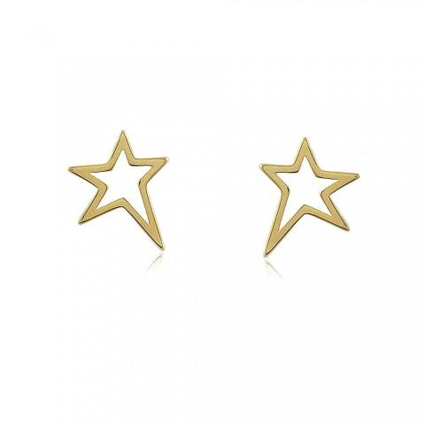 Brinco Estrela Gongo - banho de ouro amarelo