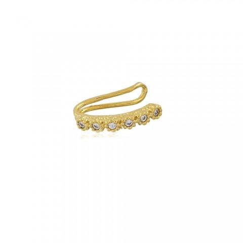 Brinco Piercing Fake Margarida - banho de ouro amarelo - zircônia branca