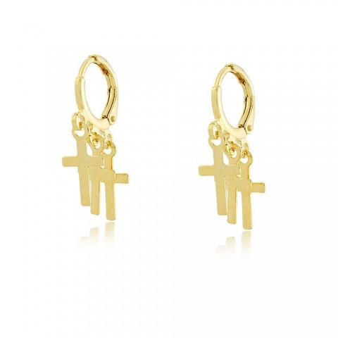 Brinco Argola Crucifixos Home - banho de ouro amarelo