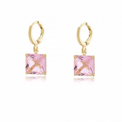 Brinco Argola Belk - banho de ouro amarelo - cristal rosa