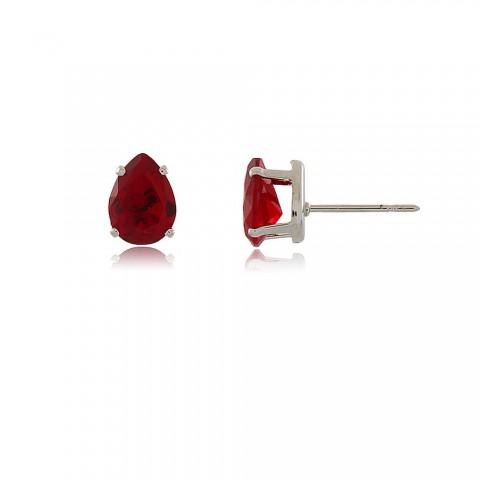 Brinco Talhada - banho de ródio - cristal vermelho