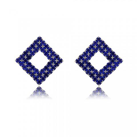 Brinco Gravatá - banho de ródio - strass azul
