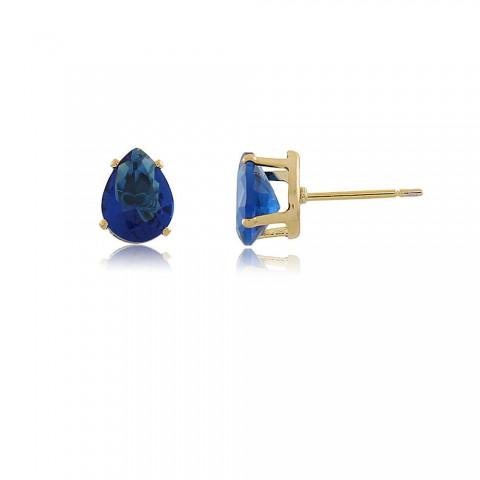 Brinco Gota Palmares - banho de ouro amarelo - cristal azul