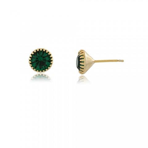 Brinco Moreno - banho de ouro amarelo - cristal verde