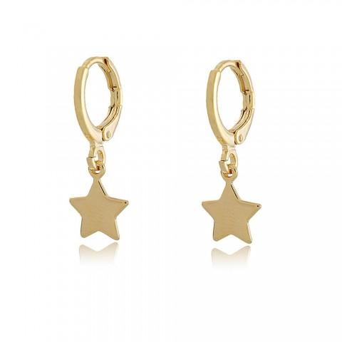 Argola Tri Estrelas - banho de ouro amarelo